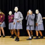 Year 9 Drama students participate in a mask workshop
